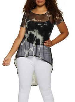 Plus Size Tie Dye Mesh High Low Top - 3912072241098