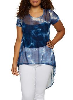 Plus Size Tie Dye Mesh High Low Top - 3912072241098