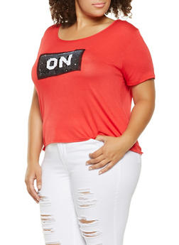Plus Size Reversible Sequin Graphic Tee - 3912072242862