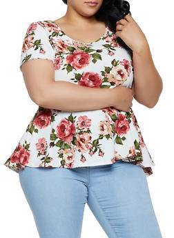 Plus Size Floral High Low Top | 3912072245530 - 3912072245530