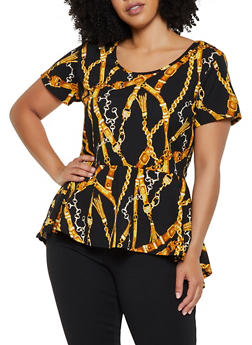 Plus Size Chain Print High Low Peplum Top - 3912072245531