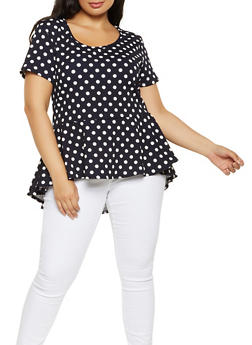 Plus Size Polka Dot High Low Top - 3912072245532