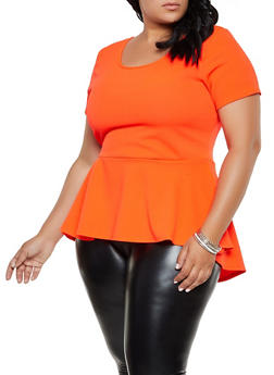 Plus Size Scoop Neck High Low Top - 3912072245533