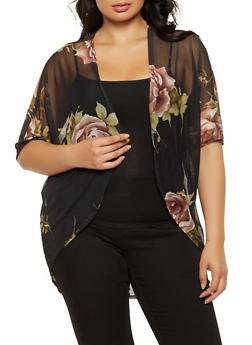 Plus Size Floral Mesh Kimono - 3912072246616