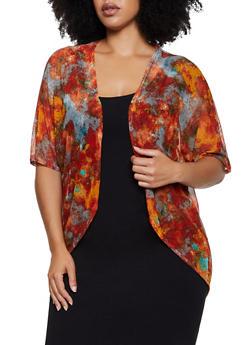Plus Size Tie Dye Mesh Kimono - 3912072246618