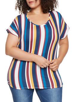 Plus Size Soft Knit Striped Tee - 3912072247591