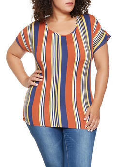 Plus Size Striped Ruched Tee - 3912072247592