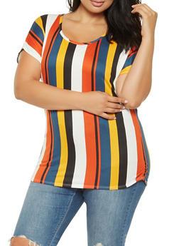 Plus Size Striped Soft Knit Tee - 3912072247594
