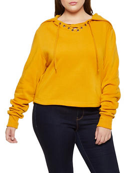 Plus Size Split Zip Hooded Sweatshirt - 3912072290055