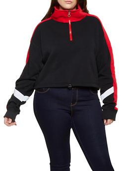 Plus Size Zip Pullover Sweatshirt - 3912072290056