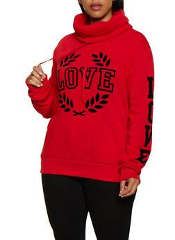 Plus Size Love Graphic Cowl Neck Sweatshirt - 3912072290209