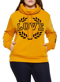 Plus Size Love Graphic Cowl Neck Sweatshirt - 3912072290209