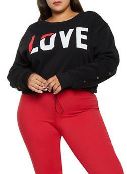 Plus Size Love Drawstring Hem Sweatshirt - 3912072290286