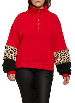 Plus Size Faux Fur Cuff Sweatshirt - 3912072290311