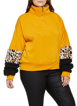 Plus Size Faux Fur Cuff Sweatshirt - 3912072290311