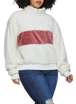 Plus Size Faux Fur Color Block Sweatshirt - 3912072290327