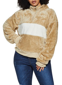 Plus Size Faux Fur Color Block Sweatshirt - 3912072290327