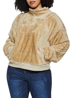 Plus Size Faux Fur Half Zip Sweatshirt - 3912072290328