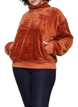 Plus Size Faux Fur Half Zip Sweatshirt - 3912072290328