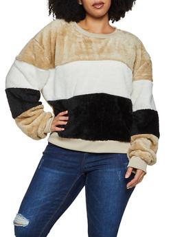 Plus Size Color Block Faux Fur Sweatshirt - 3912072290329