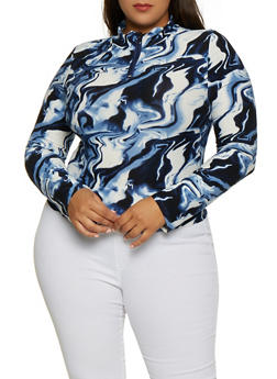 Plus Size Tie Dye Zip Mock Neck Top - 3912072293500