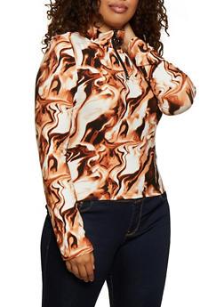 Plus Size Tie Dye Zip Mock Neck Top - 3912072293500