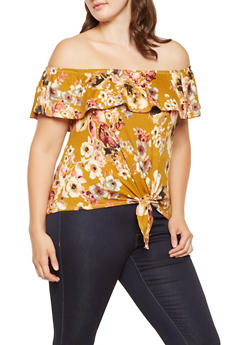 Plus Size Floral Off the Shoulder Top - 3912074012503