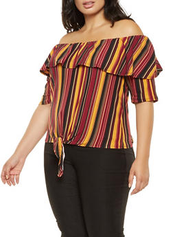 Plus Size Striped Off the Shoulder Tie Front Top - 3912074012522
