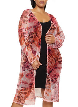 Plus Size Tie Dye Fishnet Duster - 3912074012581