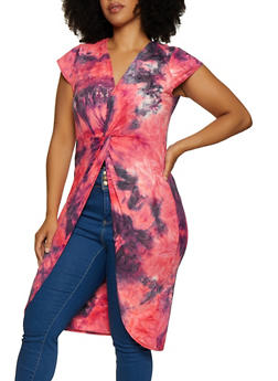 Plus Size Tie Dye Twist Front Maxi Top - 3912074015561