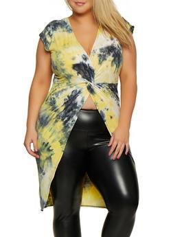 Plus Size Tie Dye Twist Front Maxi Top - 3912074015561