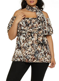 Plus Size Tie Dye Off the Shoulder Top with Scarf - 3912074015820