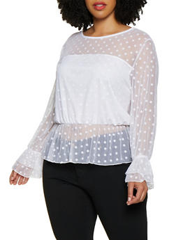 Plus Size Ruffle Trim Polka Dot Mesh Top - 3912074015821