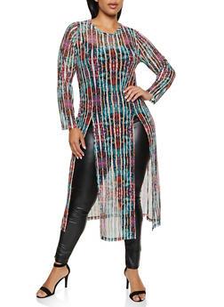Plus Size Printed Mesh Sheer Maxi Top - 3912074015824