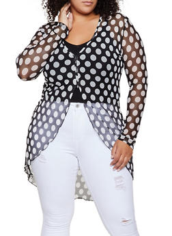 Plus Size Polka Dot Mesh High Low Top - 3912074015840