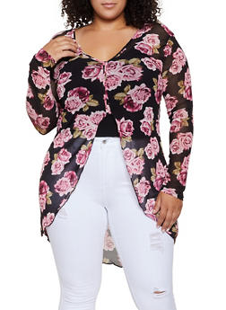 Plus Size Rose Print Mesh High Low Top - 3912074015841