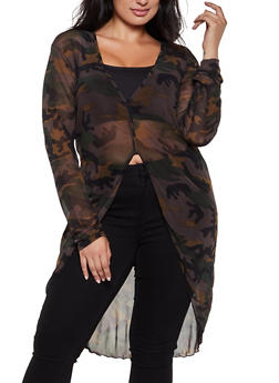 Plus Size Camo Mesh Maxi Top - 3912074015842