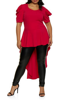 Plus Size Ruffle High Low Textured Knit Top - 3912074015851