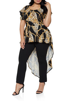 Plus Size Leopard Chain Print High Low Top - 3912074015852