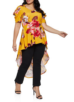 Plus Size Ruffled Floral High Low Top - 3912074015853