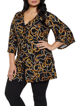 Plus Size Chain Link Twist Front Top - 3912074015854