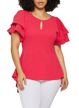 Plus Size Tiered Sleeve High Low Top - 3912074280111
