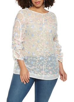 Plus Size Embroidered Mesh Top - 3912074280408