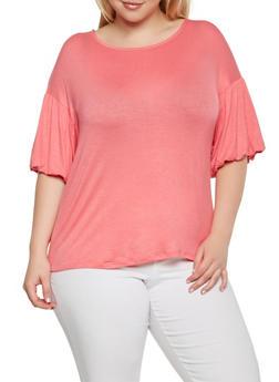 Plus Size Bubble Sleeve Top - 3912074280457