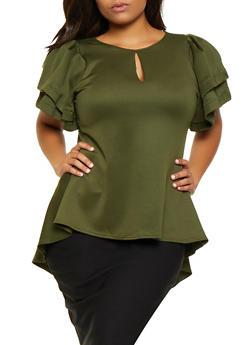 Plus Size Scuba Knit High Low Top - 3912074280601