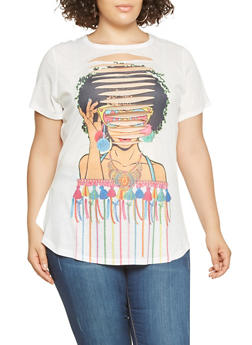Plus Size Graphic Slashed Front Tee - 3912074280912
