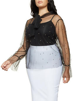 Plus Size Beaded Mesh Bell Sleeve Top - 3912074280918