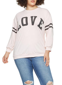 Plus Size Graphic Varsity Stripe Top - 3912074281024