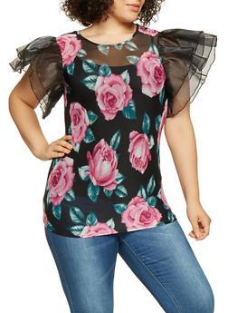 Plus Size Floral Mesh Top - 3912074281038