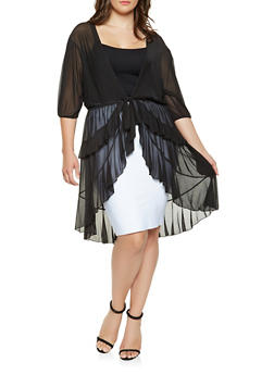 Plus Size Ruffled Mesh Duster - 3912074281040